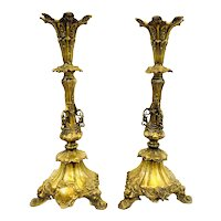 "MONUMENTAL Pair of 20"" Tall Antique Early 20th Century French Cast Gilt Bronze Ornate Design CANDLESTICKS"