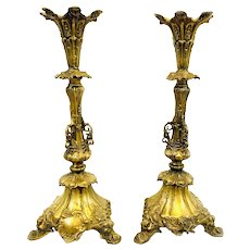 "MONUMENTAL Pair of 20"" Tall Early 20th Century French Cast Gilt Bronze Ornate Design CANDLESTICKS"