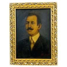 CHARMING Vintage 1920s 30s Original Oil on Canvas Portrait of a Mustachioed Gentleman Gilt Wood Frame PAINTING