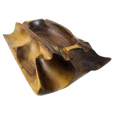 LOVELY Vintage 1950s BRAZIL Hand Carved Jacaranda Wood Sculptural Modernist Trinket Bowl Coin DISH
