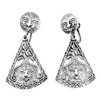 BIG Vintage 1940s 50s PLAFINA Mexico handmade sterling silver pre Columbian Ornate FACES Design Dangling Screw EARRINGS