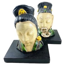 PAIR Vintage 1930s 40s Chinese Handmade Painted Ceramic Male & Female Bust FIGURES