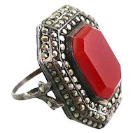 BIG Vintage 1930s Germany ART DECO Sterling Silver Carnelian & Marcasites Cocktail RING Sz 4.5