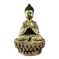 "BIG 1930s 40s Chinese Cast Gilt Bronze Seated Buddha on Lotus Base STATUE - 11.5"" Tall"