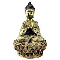 "BIG 1930s 40s Chinese Cast Gilt Bronze Seated Buddha on Lotus Base STATUE - 11.5"" Tall"