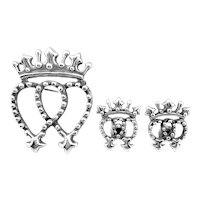 RARE Vintage 1950s Victoria Taxco Handmade Sterling Silver Crown & Conjoined Female Hearts Brooch Pin & Earrings SET