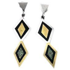 BIG Vintage 1950s Stella POPOWSKI Taxco Handmade Sterling Mixed Metals Geometric Modernist EARRINGS