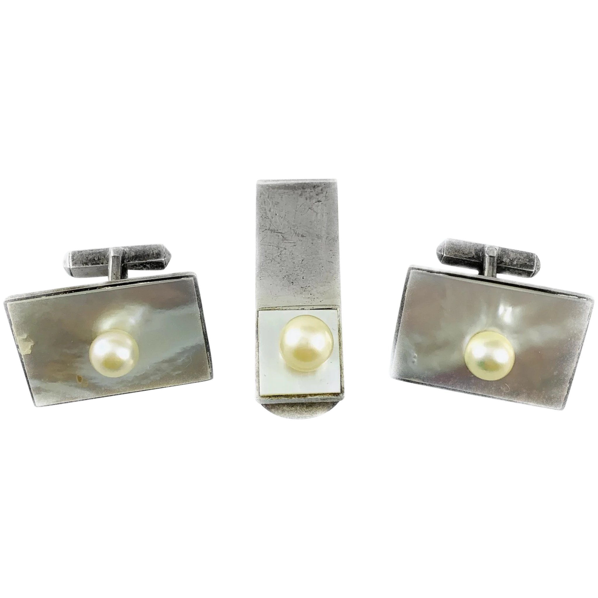 Vintage Silver Dark Mother Of Pearl And Cultured Pearl Cufflinks