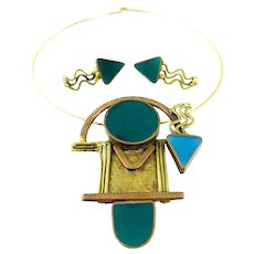 HUGE Vintage 1980s 90s Handmade Mixed Metals & Colored Resin Geometric Memphis Modernist Necklace & Earrings SET