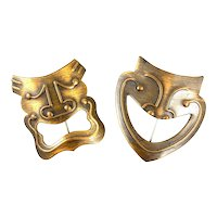 RARE Pair of Vintage 1930s 40s Francisco REBAJES NYC Handmade Copper Comedy & Tragedy Masks Brooch PINS