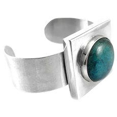 SUPERB 1960s 70s MIGUEL Garcia Martinez Handmade Sterling Silver & Turquoise Mexican Modernist Cuff BRACELET