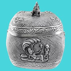 RARE Antique One of a Kind India Handmade Repoussage & Incised Sterling Silver Female Deities BOX