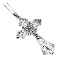 LOVELY Vintage 1960s 70s Handmade Sterling Silver Ornate Design CROSS Pendant on Chain NECKLACE