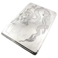 BIG Antique Late Qing SIGNED Handmade Chinese Export 900 Silver Coiling DRAGON Design Hinged CASE