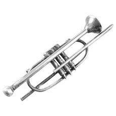 HUGE Vintage 1940s 50s Handmade Sterling Silver Musical Trombone Design Brooch PIN
