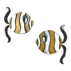 RARE Pair 1960s Tono Taxco Piedra Negra Handmade Mixed Metals Sterling Mexican Modernist FISH Brooches PINS