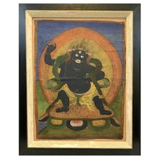 ANTIQUE Late 19th to Early 20th Century Tibetan Thangka Hand Painted on Fabric PAINTING of Mahakala Buddhist Protective Diety