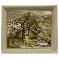 ORIGINAL Vintage 1950s 60s Signed BERNER Oil Painting on Board of Trees in a Forest with Original Period Frame