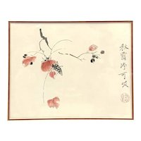 LOVELY Original Vintage 1950s 60s SIGNED Japanese Ink & Watercolor Painting on Paper Period Frame Matte & Under Glass