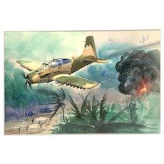 RARE Vintage 1972 Watercolor Painting on Paper Vietnam War Airplane in Original Matte & Wood Frame & Under Glass