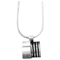 SIGNED Vintage Handmade Sterling Silver Geometric Modernist Pendant on Chain NECKLACE