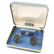 Vintage 1960s Sterling Silver Heraldic Fraternal Professional Cufflinks and Tie Tac Pin SET in the Original Box