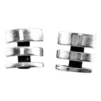 SIGNED Vintage Handmade Sterling Silver Geometric Modernist Pierced EARRINGS