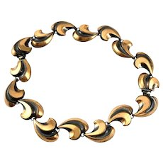 BIG Vintage 1950s Handmade Copper Moderne Dimensional Design Convertible Bracelets NECKLACE