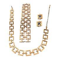 SET of Vintage 1950s Renoir California Handmade Copper Geometric Modernist Bracelet Earrings & NECKLACE