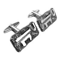 BIG Pair of 1960s 70s Handmade Sterling Silver Modernist Brutalist CUFFLINKS