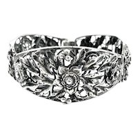 BIG Vintage 1920s 30s Arts and Crafts Handmade Sterling Silver Floral Foliate Design BRACELET
