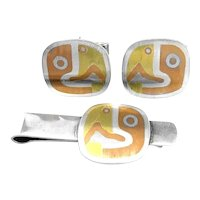 BIG Vintage 1950s 60s Handmade Metales Casados Mixed Metals Sterling Mexican Modernist Parrot Cufflinks & Tie Bar SET