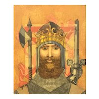 ORIGINAL Vintage 1960 Austin McMahon Original Oil Painting on Board of Crowned Knight in Armor Period Gilt Carved Wood Frame