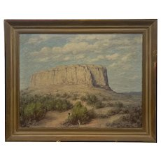 RARE Original 1930s 40s Signed Oil Painting on Canvas Southwestern Desert Rock Formation Period Gilt Wood Frame