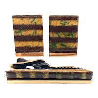 BIG Rare Vintage 1950s Matisse California Handmade Copper Enamel Modernist Cufflinks & Tie Bar SET