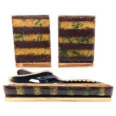 BIG Rare Vintage 1950s Matisse California Handmade Copper Enamel Modernist Cufflinks & Tie Bar SET