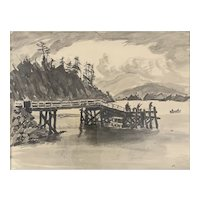 ORIGINAL Vintage 1971 Charles E Reynolds Pen & Ink & Watercolor on Paper Fishing on Pier at Taft Oregon Frame & Glass