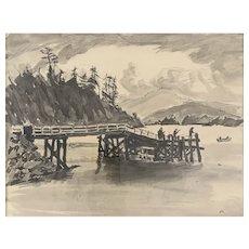 ORIGINAL Vintage 1971 Charles E Reynolds Pen & Ink & Watercolor on Paper Fishing on Pier at Taft Oregon Frame & Glass