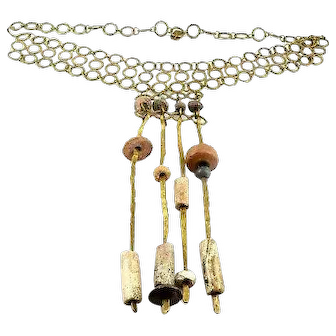 """HUGE Vintage 1960s 70s DONA Mexico Handmade Modernist Bronze & Ancient pre-Columbian Stone NECKLACE - 9"""" Drop at Center!!"""