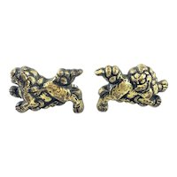 HUGE Vintage 1940s 50s Japan Japanese Menuki Handmade Sterling Silver Mixed Metals Buddhist Lions Fou Dogs CUFFLINKS