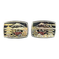HUGE Vintage 1940s 50s Japan Japanese Handmade Sterling Silver & Overlay Tourist Mt Fuji Pagoda Torii Arch Cherry Blossom CUFFLINKS