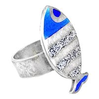 BIG Vintage 1960s 70s Uno A Erre Italy Handmade Sterling Silver & Enamel Modernist Fish RING - Size 5.5 US