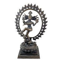 BIG Late 19th Early 20th Century India Indian Hand Cast Bronze Shiva Nataranja Devotional STATUE