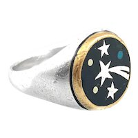 RARE 1950s 60s TONO of Taxco Handmade Mixed Metals Sterling Copper Black Onyx Turquoise SHOOTING STAR Design RING - Size 11 US