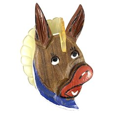 HUGE Vintage 1930s 40s ELZAC Handmade Carved Painted Wood & Lucite Patriotic Democratic Donkey Brooch PIN