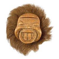 BIG Rare Vintage 1930s 40s Handmade Carved Wood Leather Fur HAPPY ESKIMO Design Brooch PIN