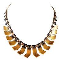 SUPERB Vintage 1950s Matisse California Handmade Copper Enamel Modernist Aztec Design NECKLACE
