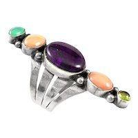 HUGE Vintage 1970s 80s Rose Castillo Draper NAVAJO Sterling & Gemstone RING Size 5.75 US