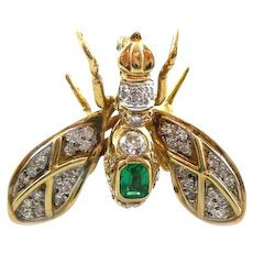 STUNNING Vintage 1960s 70s European 18K Gold Diamonds & Emerald INSECT BEE Design Brooch PIN