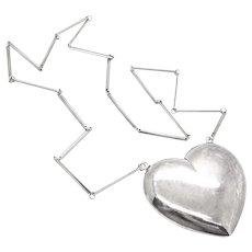 HUGE 1950s 60s Hermann Siersbol Denmark Handmade Sterling Silver Modernist HEART Pendant NECKLACE